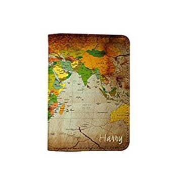 Vintage Old World Map [ Name Customized ] Passport Holder - Novelty Leather Passport Cover - Vintage Passport Wallet - Travel Accessory Gift - Travel Wallet for Women and Men_LOKISHOP