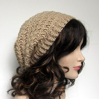 Tan Slouchy Crochet Hat - Womens Slouch Beanie - Oversized Cap - Spring Summer Fashion Accessories