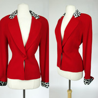1990s Christian Dior blazer, red jacket with leopard print trim, wool designer coat, Large, 10