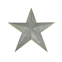 Metal Hanging Gray Galvanized Star Christmas Decor, 15-Inch