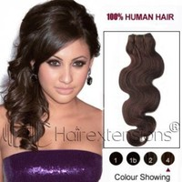 22 inch Medium Brown(#4) Wavy Indian Remy Hair Weave