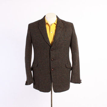 Vintage 60s BLAZER / 1960s Men's HARRIS TWEED English Sport Coat Jacket S - M