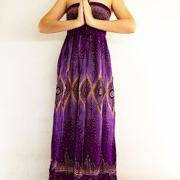 Thai Women Maxi Dress Gypsy Dress Boho Dress Hippie Dress Summer Beach Dress Long Dress Party Dress Clothing Printed Purple Violet (DL13)