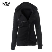 2016 New Spring Autumn Women Europe America Zipper Hooded Thicken hoodies Women Sweatshirt Hoodies Tops Blusas With 9 Colors XXL