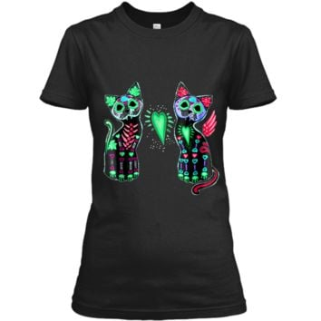 Day of Dead Sugar Cat  Cats Skeleton Skull Tee  Ladies Custom