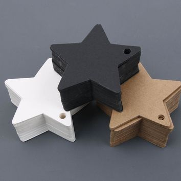 6*6 cmMulti-use Star Kraft Paper Wedding Label Party Gift Card Price Luggage Tags Christmas Decoration Christmas Ornaments 50pcs
