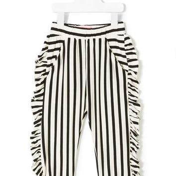 Bang Bang Copenhagen Striped Ruffle Trousers - Farfetch