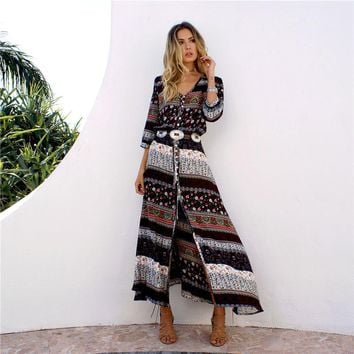 Vintage Floral Long Dress Women Bohemia Boho Ethnic Maxi Dress Sexy V-neck Summer Beach Sundress Female Split Vestidos Mujer