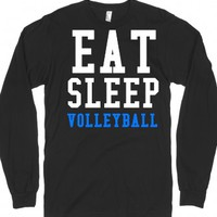 Eat Sleep Volleyball long sleeve black tee t shirt-Black T-Shirt