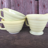 Vintage Pastel Milk Glass cups and creamer Hazel Atlas Moderntone Platonite yellow, vintage glassware, mid century glassware,milk glass