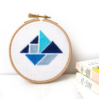 Blue boat decor, cross stitch, hoop art, nursery decoration, boys room art, nautical decor, wall art, tangram shape