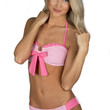 Lauren James Seersucker Bandeau Bow Bikini Top - Pink