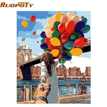 RUOPOTY Frame Colorful Balloon Lover DIY Painting By Numbers Wall Art Home Decor Modern Unique For Wedding Decoration 40x50cm