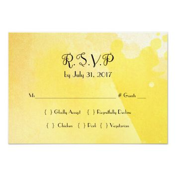 Yellow Watercolor Fairytale Wedding RSVP Card