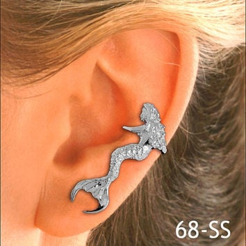 Sitting Mermaid Silver Ear Cuff