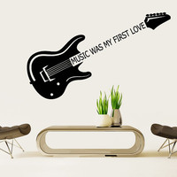 Wall Decal Vinyl Sticker Decals Art Decor Design Guitar Sign Music is Love Notes Melody Electro Band Rock Star Mans Gift Bedroom Dorm(r1014)