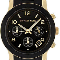 Michael Kors Black Rubber Link Bracelet MK5191 Watch