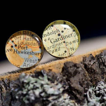 Personalized Cufflinks, Wedding Party Groom, Groomsmen, Best Man Gifts Vintage Map Sterling Silver Round Cufflinks. You Select the Journey.