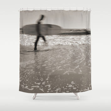 Surfer In Motion Shower Curtain by Inspired By Fashion