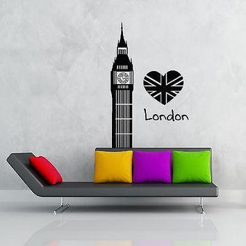 Wall Stickers Vinyl Decal I Love London England Great Britain Big Ben Unique Gift (z1833)