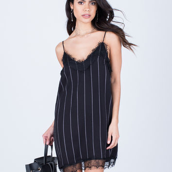White Lines Slip Dress