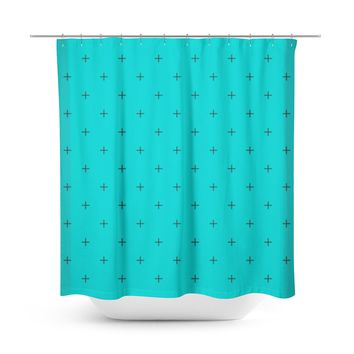 Swiss Cross Turquoise Shower Curtain