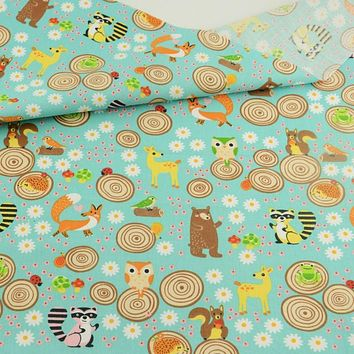 Teramila Cartoon Animals And Flowers Design Sewing Tissu Blue Cotton Fabric Quilting Fabric Tecido For Garment Dress