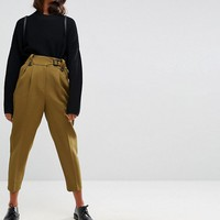 ASOS Tailored Peg Trousers with Tab and Buckle Detail at asos.com