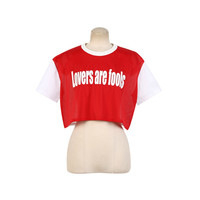 Text Print Mesh Crop Top | DABAGIRL, Your Style Maker