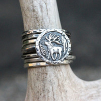 Sterling Silver Stacking Ring Antler Ring Deer Ring Elk Ring Antler Jewelry Deer Antler Coin Ring Sterling Silver Jewelry