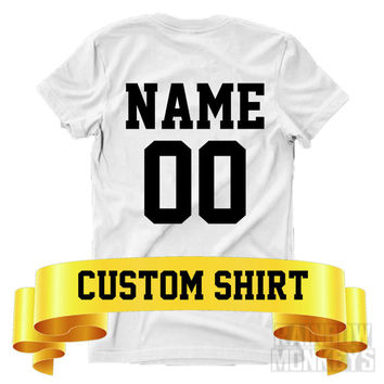 Custom Shirt Custom Name and Number T-Shirt Matching Shirts His Hers King Queen Royals Mr Mrs Personal Jersey Varsity