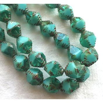 Lot of 15 Czech glass bicones, turquoise blue green opaque and transparent mix picasso carved faceted 8 x 10mm large bicone beads, C07201