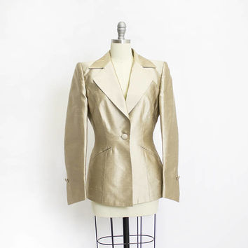 Vintage ESCADA COUTURE Blazer- 1980s Gold Silk Champagne Fitted Peplum Jacket - Medium m