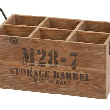 Benzara Wood Wine Crate Storage Barrel 16 Inch x 8 Inch x 9 Inch