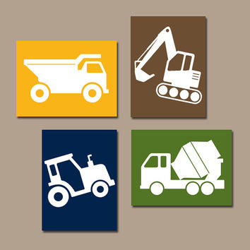 CONSTRUCTION Wall Art, CANVAS or Prints, Dump Truck Pictures, Tractor, Big Boy Bedroom, Baby BOY Nursery,Transportation Theme Set of 4 Decor
