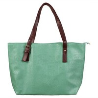 Embossed Synthetic Leather Large Travel Shoulder Tote Bag with Zipper Closure (Turquosie)