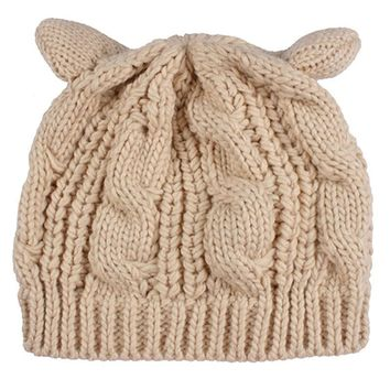 Ladies Girls Cat Ears Hat Cable Knit Cap Winter Fashion Crochet Braided Beanies for Women,Black Red Yellow Brown Beige or Tan
