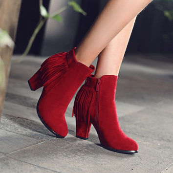 Faux Suede Tassel Zipper High Heels Ankle Boots 7701