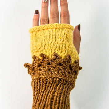 Knit gloves, Knit fingerless glove, hand gloves with no fingers, fingerless mittens, Wrist warmer, Knitted gloves, Mori Girl, boho glove