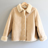 Suede Fur Coat Faux Fur Lining Beige Faux Suede leather Boho Jacket Vintage 90s Size S  #O119A