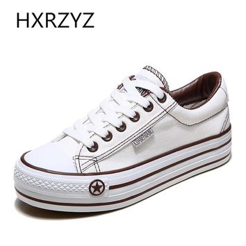 HXRZYZ Women's Platform Casual Canvas Flat Lace-Up Tennis Shoes - Sizes 5-9 (6 Colors)