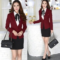 New Elegant Wine 2015 Autumn Winter Fashion Slim Women's Skirt Suits Uniform Blazer Sets Professional Work Wear Suits Plus Size