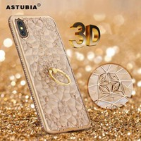 3D Gold Glitter Case For iPhone X Case Luxury Silicone Soft Gel Back Diamond Ring Phone Cases For iPhone 10 Stand Cover