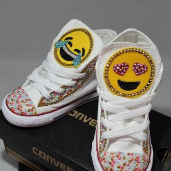 girls custom bling emoji converse sneakers emoji minnie mouse hello kitty frozen