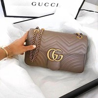 GUCCI Classic Fashion Women Shopping Leather Handbag Shoulder Bag Crossbody Satchel Khaki