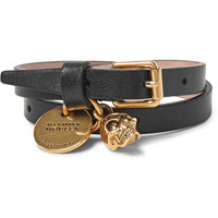 Alexander McQueen - Leather And Burnished Gold-Tone Skull Wrap Bracelet