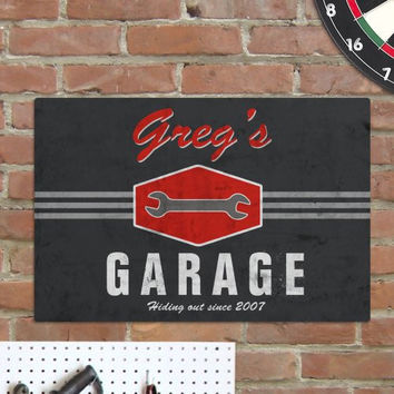 "Personalize My Garage"" Man Cave Metal Sign"