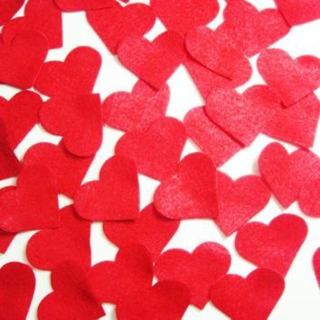 25 pcs Felt Small Red Heart Set (4 x 5) - For Valentine Day DIY Kit