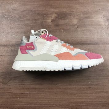 HCXX A1179 Adidas Nite Jogger 2019 Boost Breathable Running Shoes White Pink Orange