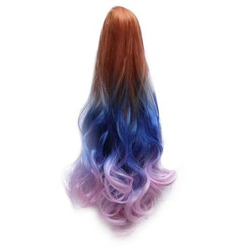 22inch 56*10cm  Claw clip LUXURY Gradient WAVY Wig Hair cap COSPLAY costume